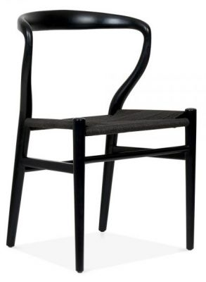 Katcut Dining Chair Withj A Black Frame And A Black Seat Front Angle