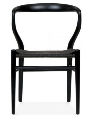 Katcut Dining Chair With A Black Frame And Black Seat Front View