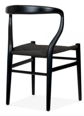 Katcut Dining Chair In Black With A Black Seat Rear Angle