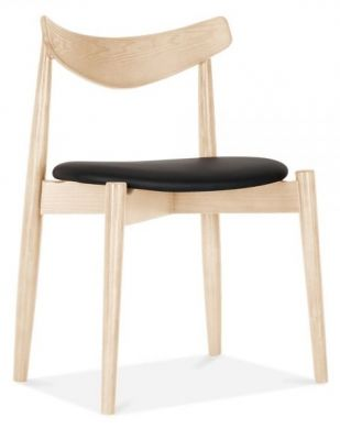 Chepstow Dining Chair With A Natural Frame And Black Seat Front Angle