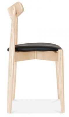 Chepstow Dining Chairs With A Natural Frame And Black Seat Side View