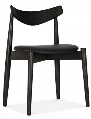 Chepstow Dining Chair With A Black Frame And Black Seat Front Angle