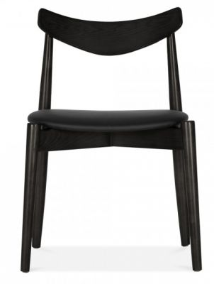 Chepstow Designer Dining Chair In Black With A Black Seat Front View