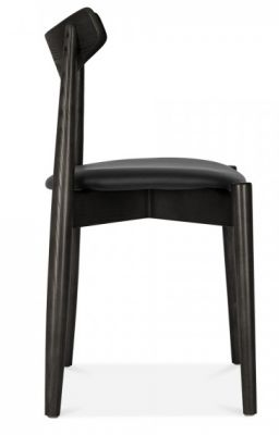 Chepstow Designer Dining Chair With A Black Frame And Black Seat Side View
