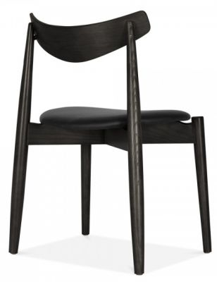 Chepstow Designer Diniong Chair With A Black Frame And Black Seat Rear Angle View