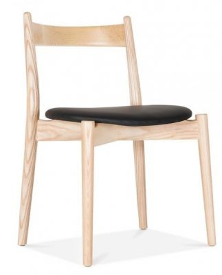 Boston Designer Dining Chair Natural Frame And Black Seat
