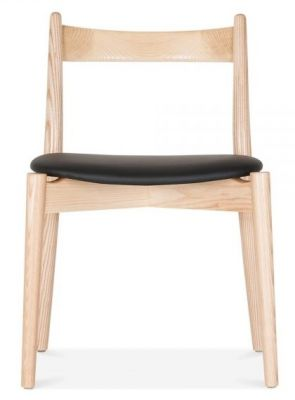 Boston Chair With A Natural Frame And Black Seat Front View