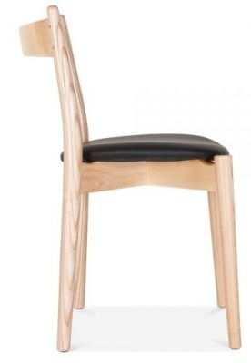 Boston Dining Chair With A Natural Frrame And Black Seat Side View