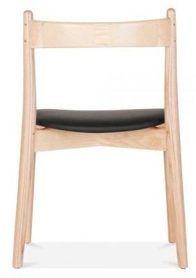 B Oston Chair With A Natural Frame And Black Seat Rear View
