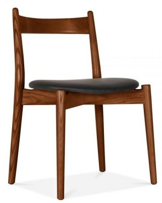 Boston Chair Walnut Frame Black Seat Front Angle