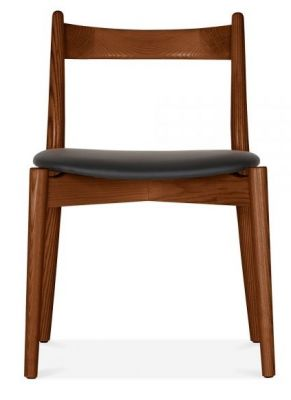 Boston Chair With A Walnut Frame And Black Seat Front View