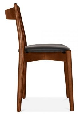 Boston Designer Dining Chair With A Walnut Frame And Black Seat Side View