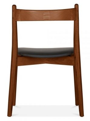 Boston Dining Chair With A Walnut Frame And Black Seat Rear View