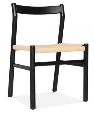 Paco Designer Dining Chair With A Black Frame Front Angle