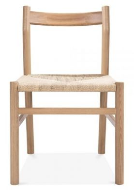 Paco Designer Dining Chair Natural Finish Front View