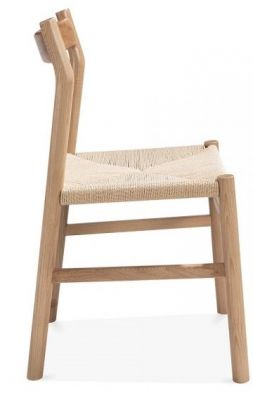 Paco Designer Dining Chair Natural Finish Side View