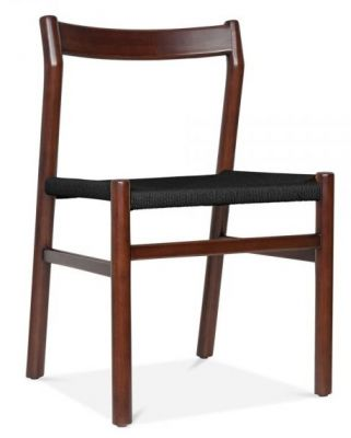 Paco Designer Dining Chair Walnut Frame And Black Seat