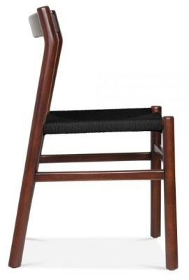 Paco Designer Dining Chair With A Walnut Frame And Black Seat