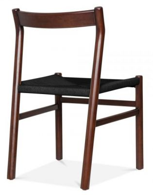 Paco Designer Dining Chjair With A Walnut Frame And Black Seat Rea Angle
