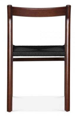 Paco Designer Dining Chair With A Walnut Frame And Black Seat Rear View