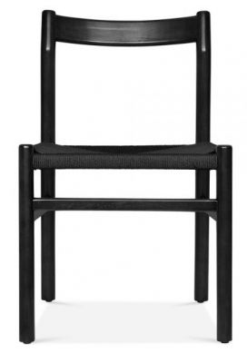 Paco Dining Chair In Black With A Black Seat Front View