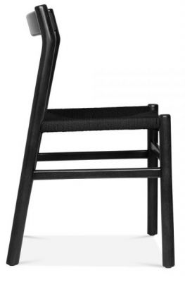 Paco Chair With A Black Frame And Black Seat Side View