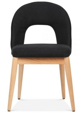 Albert Dining Chair Black Fabric Front View