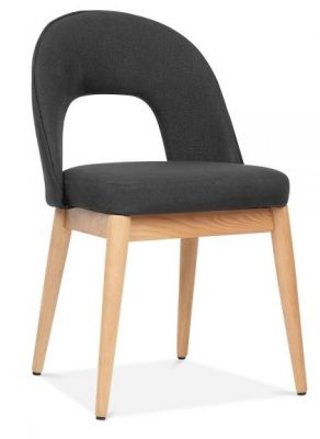 Albert Designer Dining Chair In Dark Grey Front Angle View