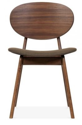 Ascal Designer Dining Chair With A Brown Fabric Seat Front View