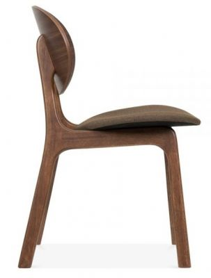 Pascal Designer Dining Chair With A Brown Fabric Seat Sidxe View
