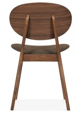 Pascal Designer Dining Chairs Rear Angle Brown Fabric Seat