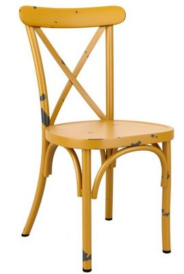Angelica Cross Back Aluminiam Chairs In Antique Yellow