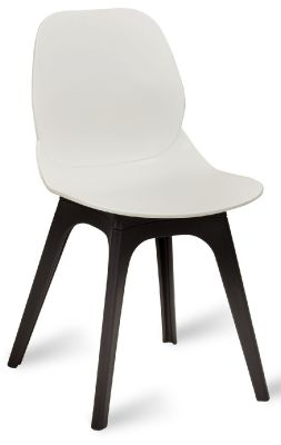 Mylo V14 Chair With A White Shell And Black Legs