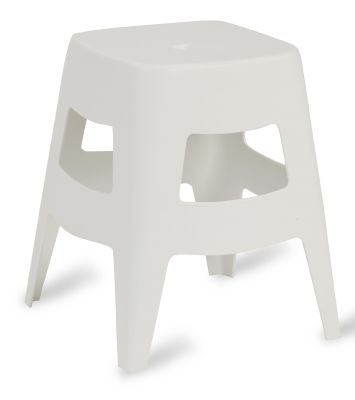 Chepstow Low Plastic Stool In White