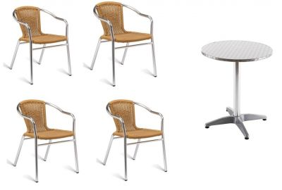 Plaza Outdoor Bistro Set With Natural Weave Armchairs