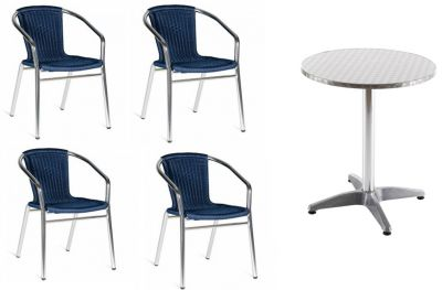 Plaza Blue Weave Bistro Set