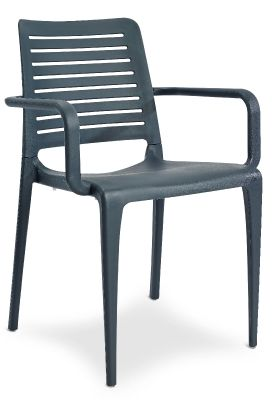 Mika All Weather Armchair In Anthracite Front Angle