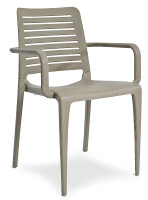 Mika All Weather Plastic Armchair In Taupe Front Angle