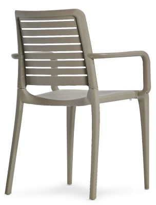 Mika All Weather Plastic Armchair In Taupe Rear Angle