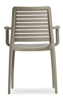 Mika All Weather Plastic Armchair In Taupe Rear View