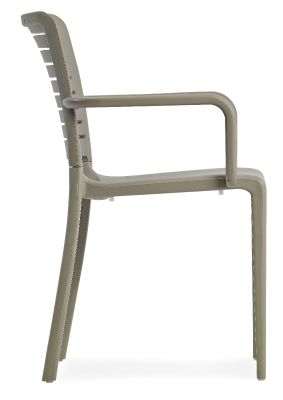 Mika All Weather Plastic Armchair In Taupe Side View