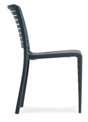 Mika Plastic Chair In Anthracite Side View