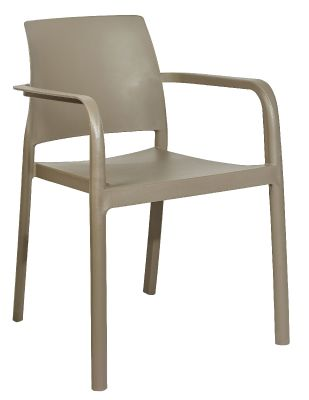 Mazie Outdoor Plastic Arm Chairs In Taupe Front Only