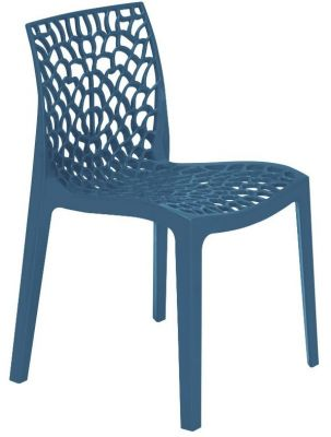 Lattice Chair In Avio Blue Front Angle