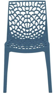Lattice Chair In Avio Blue Front View