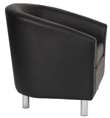 Tritium Black Leather Tyub Chair With Chrome Feet Side Viedw