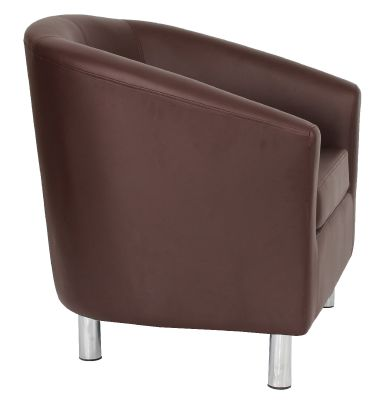 Tritium Browbn Leather Tub Chair With Chrome Feet Side View