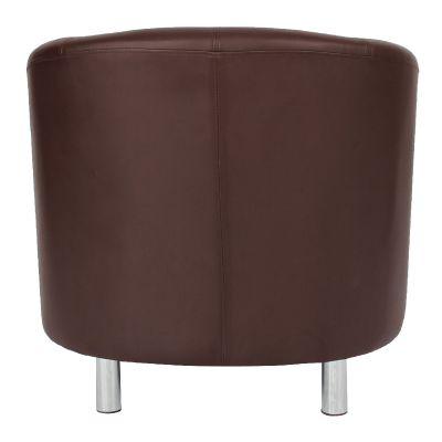 Tritium Brown Leather Tub Chair With Chrome Feet Rear View