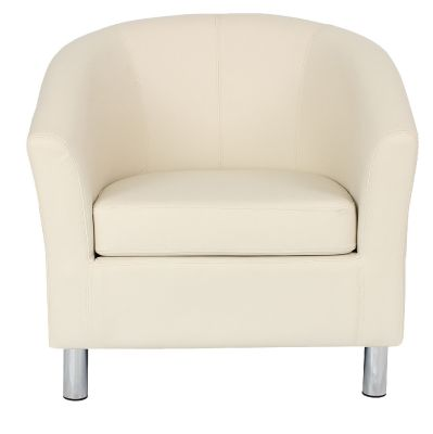 TRitium Cream Leather Tub Chair With Chrome Feet Front View