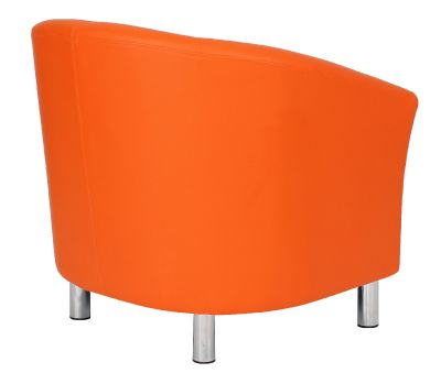 Tritium Orange Leather Tub Chair With Chrome Feet Raer Angle View